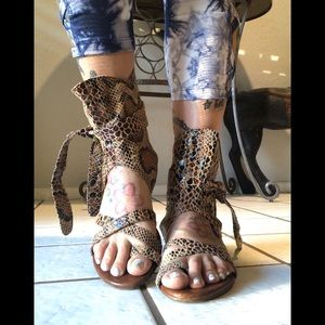 Jeffrey Campbell python sandals